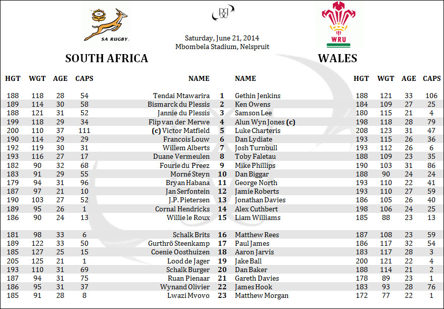 South Africa Springboks Wales Rugby Lineups Penpics